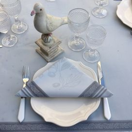 "Serviette de table Sud Etoffe ""Oliveraie"" gris"