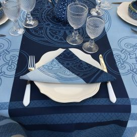 "Rectangular Jacquard polyester tablecloth ""Barcelone"" blue navy from ""Sud Etoffe"""