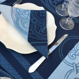 "Serviette de table Sud Etoffe ""Barcelone"" bleu navy"