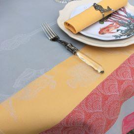 "Nappe rectangulaire Sud Etoffe, Jacquard polyester ""Ocean"" corail et gris"