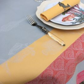 "Rectangular Jacquard polyester tablecloth ""Ocean"" grey and corail from ""Sud Etoffe"""