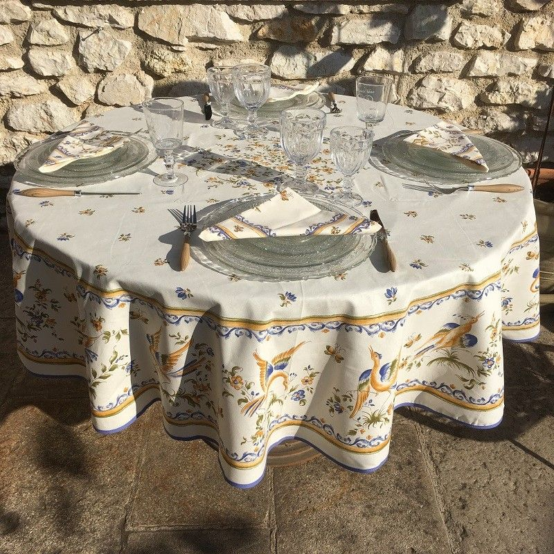 "Round cotton tablecloth ""Moustiers"" red birds"
