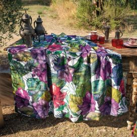 "Tessitura Toscana Tellerie, rectangular hemp tablecloth ""Karkade"""