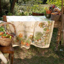 "Tessitura Toscana Telerie, rectangular linen tablecloth ""Balcon Potager"""