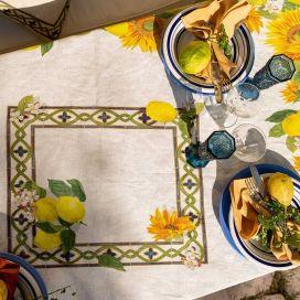 "Tessitura Toscana Telerie, square linen tablecloth ""Etruscan Garden"""