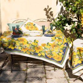 """Tessitura Toscana Telerie, rectangular linen tablecloth """"Etruscan Garden"""""""