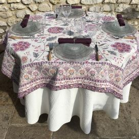 "Rectangular Jacquard tablecloth  ""Montespan"" Lilas, Tissus Toselli"