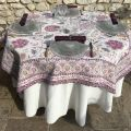 "Rectangular Jacquard tablecloth  ""Montespan"" Lilas, Tissus Toselli"