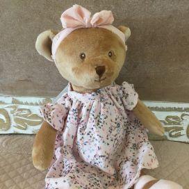"Barbara Bukowski - bear ""Meli"" pink and flowers dress"