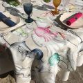 """Tessitura Toscana Tellerie, square coton tablecloth """"Cheers"""""""