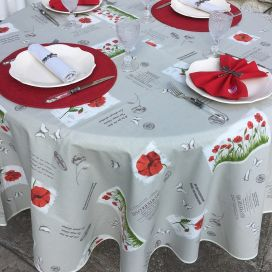 """Round tablecloth in cotton """"Poppies"""" diameter 91"""""""