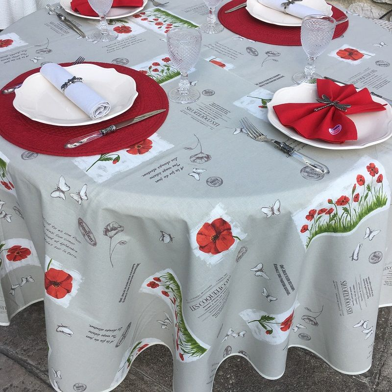 "Round tablecloth in cotton ""Poppies"" diameter 91"""