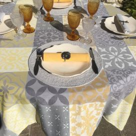 "Rectangular Jacquard tablecloth, stain resistant Teflon ""Carces""  yellowu, grey"