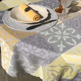 "Round Jacquard tablecloth, stain resistant Teflon ""Carces""  yellowu, grey"