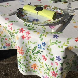 """Rectangular coated cotton tablecloth """"Mirabell"""""""