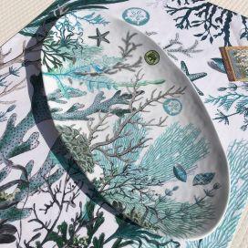 "Michel Design Works ""Ocean Tide"" Melanine ovale platter"