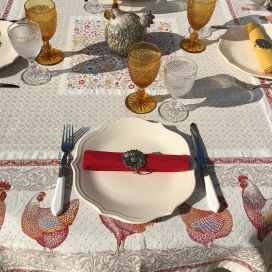 "Square Jacquard tablecloth Hens and Roosters ""Lafayette"" Marat d'Avignon"