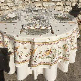 "Round tablecloth in cotton ""Moustiers"" red birds, by TISSUS TOSELLI"