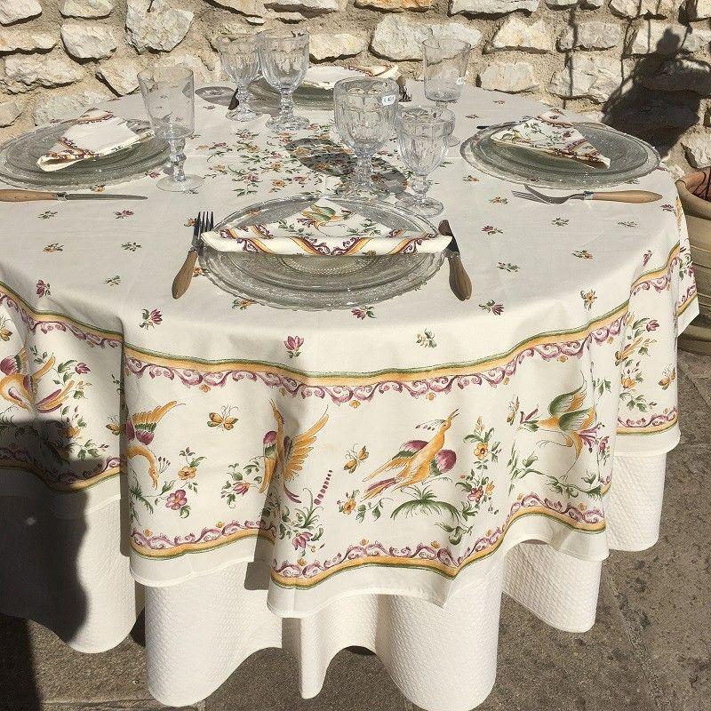 "Round tablecloth in cotton ""Clos des Oliviers"" Saffron color"