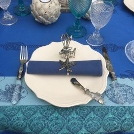 "Rectangular Jacquard polyester tablecloth ""Ocean"" Riviera from ""Sud Etoffe"""