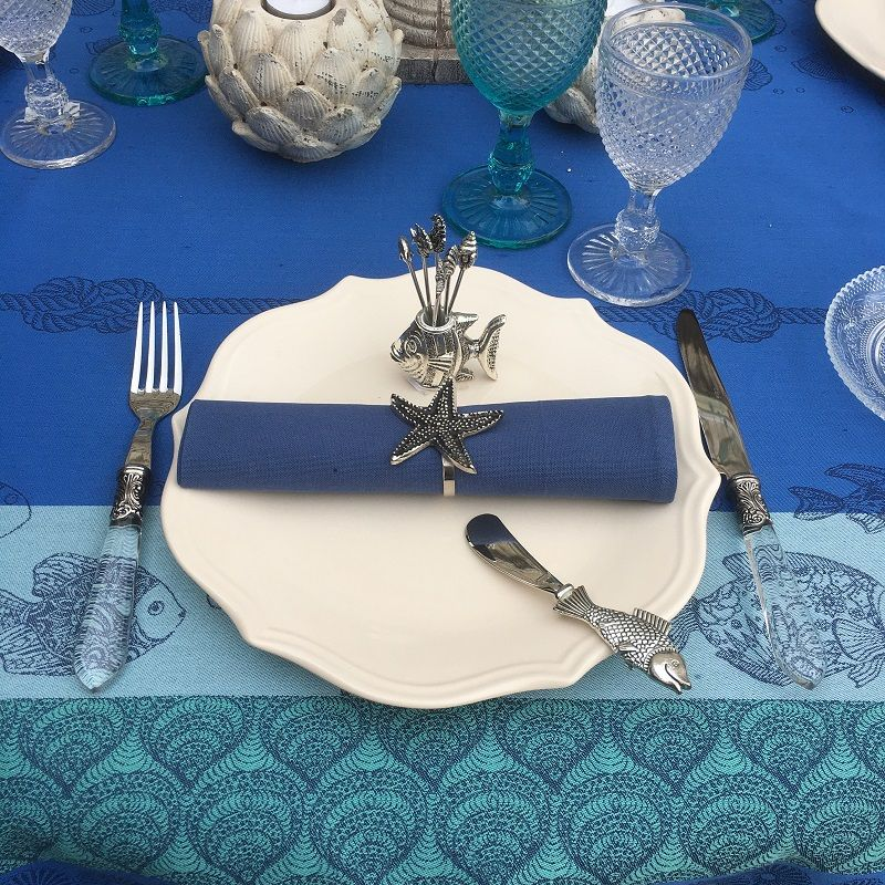 """Rectangular Jacquard polyester tablecloth """"Ocean"""" Riviera from """"Sud Etoffe"""""""