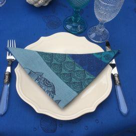 "Serviette de table Sud Etoffe ""Ocean"" bleu riviera"