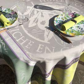 "Nappe rectangulaire Sud Etoffe Jacquard polyester ""Picholine"" naturel et vert"
