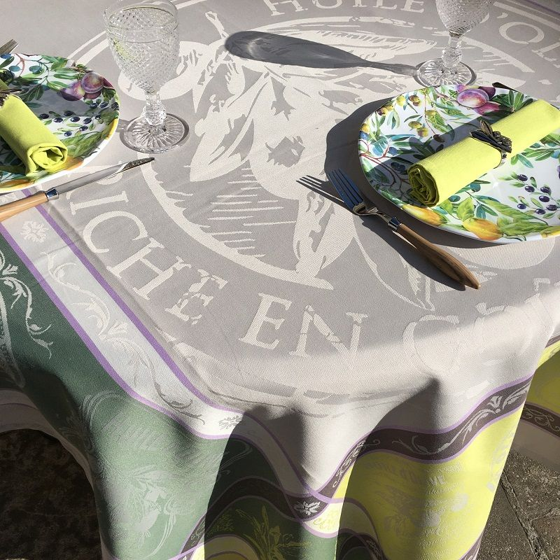 """Rectangular Jacquard polyester tablecloth """"Picholine"""" naturel and green color from """"Sud Etoffe"""""""