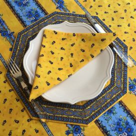 "Octogonal quilted placemats ""Tradition"" yellow and blue, by Marat d'Avignon"