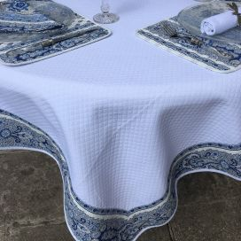 "Square Jacquard tablecloth white, bordure ""Bastide"" blue and white"