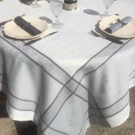 "Square Jacquard polyester tablecloth ""Monsegur"" ecru and grey from ""Sud Etoffe"""