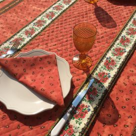 """Quilted cotton table runner """"Tradition"""" orange by Marat d'Avignon"""