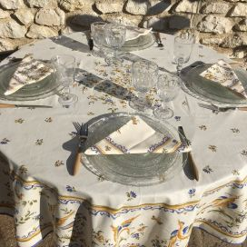 "Coated cotton round tablecloth ""Moustier"" blue by TISSUS TOSELLI"