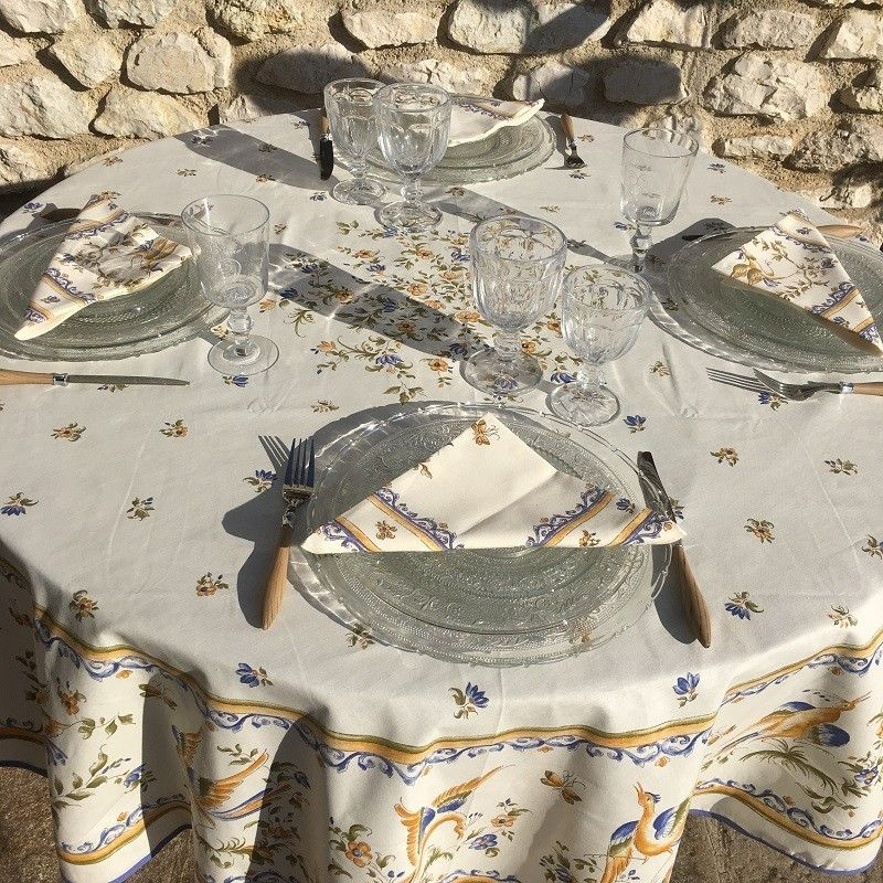 """Coated cotton round tablecloth """"Moustier"""" blue"""