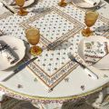 """Quilted cotton table cover """"Moustiers"""" ecru and pink"""