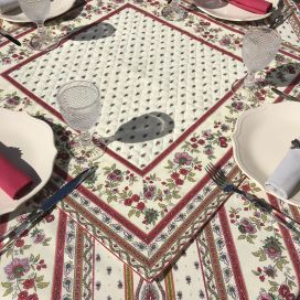"""Quilted cotton table cover """"Avignon"""" ecru and red"""