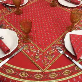 """Quilted cotton table cover """"Avignon"""" red and yellow"""