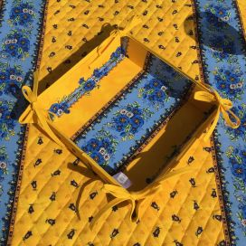 "Coated cotton bread basket with laces, 'Tradition"" yellow and blue ""Marat d'Avignon"""