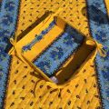 """Coated cotton bread basket with laces, 'Tradition"""" yellow and blue """"Marat d'Avignon"""""""