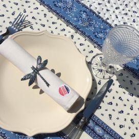 """Chemin de table en coton matelassé """"Tradition"""" blanc et bleu, Marat d'Avignon"""