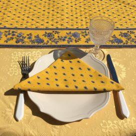 """Chemin de table en coton matelassé """"Avignon"""" jaune et bleu, Marat d'Avignon"""