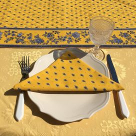 """Quilted cotton table runner """"Avignon"""" yellow and blue by Marat d'Avignon"""