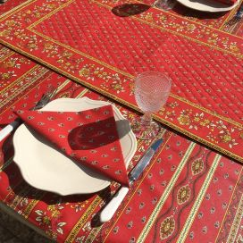 """Quilted cotton table runner """"Bastide"""" red and yellow by Marat d'Avignon"""
