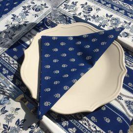 """Serviette en coton """"Avignon"""" bleu et blanc """"Marat d'Avignon"""