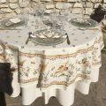 "Coated cotton round tablecloth ""Moustier"" pink birds, by TISSUS TOSELLI"