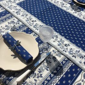 """Quilted cotton table runner """"Avignon"""" blue and white by Marat d'Avignon"""