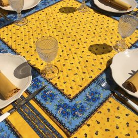 """Quilted cotton table cover """"Tradition"""" yellow and bue"""