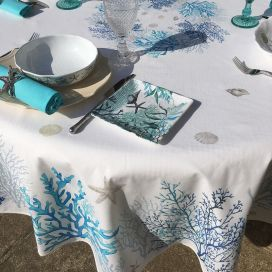 """Round coatted cotton tablecloth """"Lagon"""" bleu and turquoise from Tissus Toselli"""