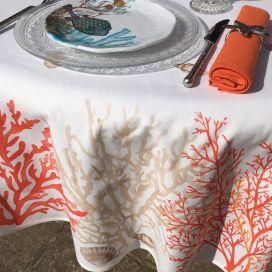 """Nappe provençale rectangulaire en coton """"Corail"""" orange et corail Tissus Toselli"""