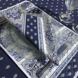 "Quilted cotton placemat ""Bastide"" blue and white"
